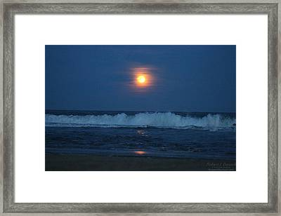 Snow Moon Ocean Waves Framed Print