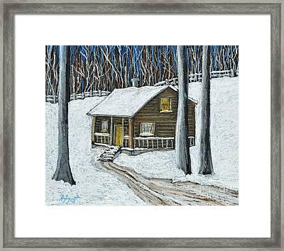 Snow On Cabin Framed Print