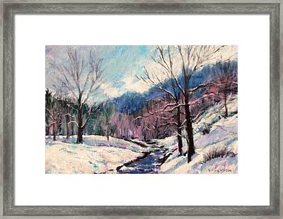 Snow On Goose Creek Framed Print by Bonnie Mason