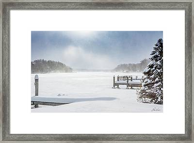 Snow On Lake Charlevoix Framed Print