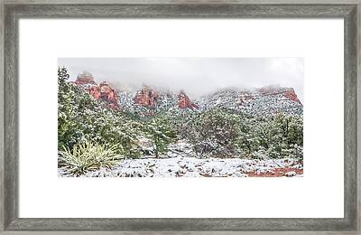 Snow On Red Rock Framed Print