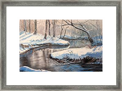 Snow On Riverbank Framed Print by Debbie Homewood
