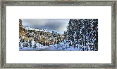 Snow On The Bow Valley Parkway Framed Print by Adam Jewell