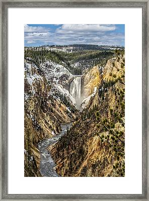 Snow On The Falls Framed Print by Yeates Photography