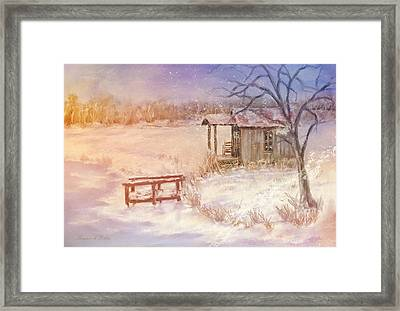 Snow On The Fishing Pond Framed Print