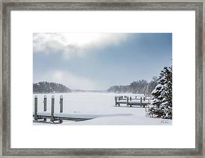 Snow On The Lake Framed Print