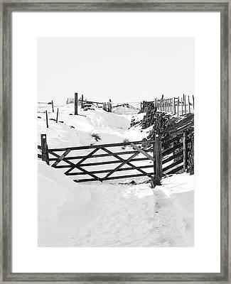 Snow On The Lane - Monochrome Framed Print