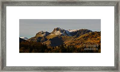 Snow On The Langdales Framed Print by John Collier