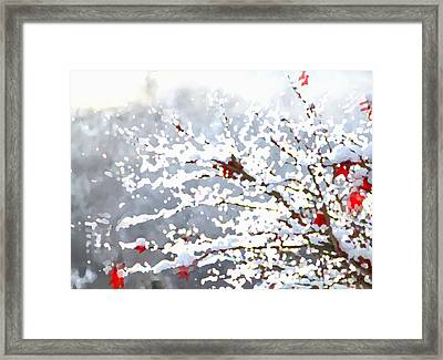 Framed Print featuring the digital art Snow On The Maple by Shelli Fitzpatrick