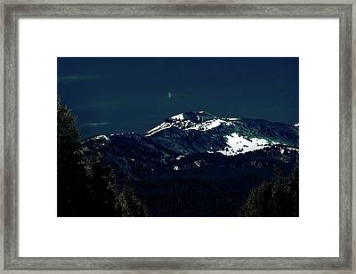 Snow On The Mountain At Night Framed Print