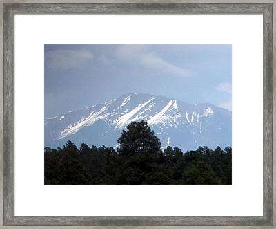 Snow On The Mountain Framed Print by Jeanette Oberholtzer