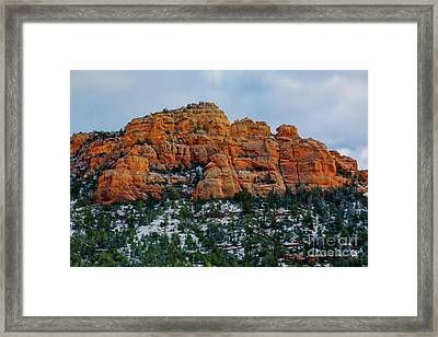 Snow On The Red Rocks Framed Print by Jon Burch Photography