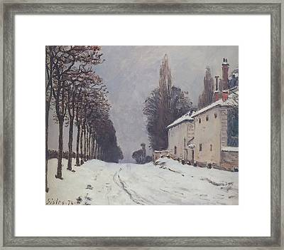 Snow On The Road Louveciennes Framed Print
