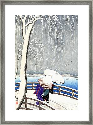 Snow On Willow Bridge By Koson Framed Print