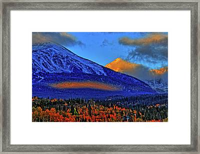 Framed Print featuring the photograph Snow Peak Fall by Scott Mahon