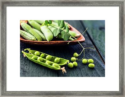 Snow Peas Or Green Peas Still Life Framed Print by Vishwanath Bhat