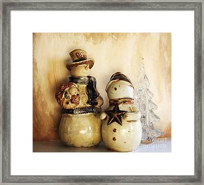 Snow People In Love Framed Print by Marsha Heiken