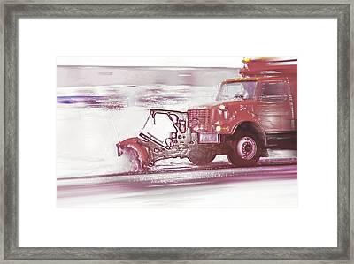 Snow Plow In Business Park 2 Framed Print by Steve Ohlsen
