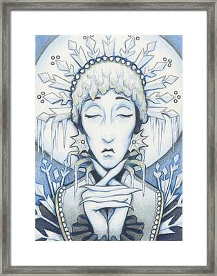 Snow Queen Slumbers Framed Print by Amy S Turner