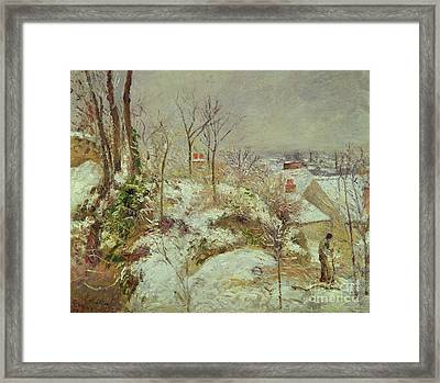 Snow Scene Framed Print by Camille Pissarro