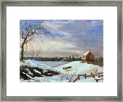 Snow Scene In New England Framed Print by American School