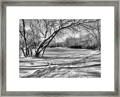 Snow Scripting Framed Print