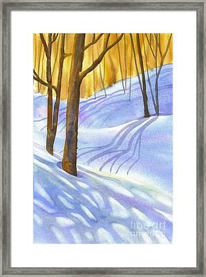 Snow-shadows Framed Print by Nancy Newman