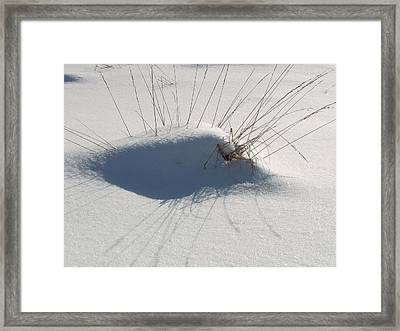 Framed Print featuring the photograph Snow Shadows With Grass by Douglas Pike