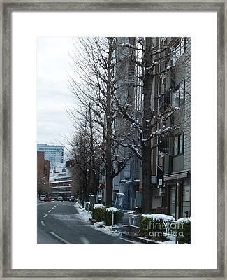 Snow Shibuya Tokyo Japan Framed Print by Lee Tinglu