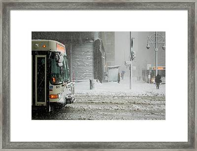 Framed Print featuring the photograph Snow Storm Bus Stop by Stephen Holst