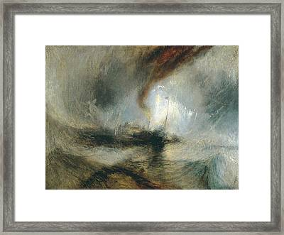 Framed Print featuring the painting Snow Storm by Joseph Mallord William Turner