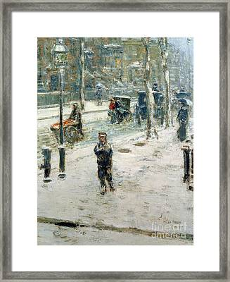 Snow Storm On Fifth Avenue Framed Print