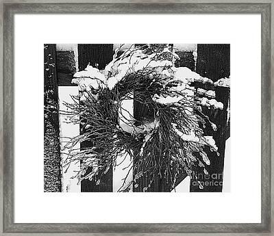 Snow Wreath Framed Print by Diane E Berry