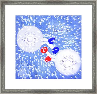 Snowball Fight In A Blizzard Framed Print by Steve Ohlsen