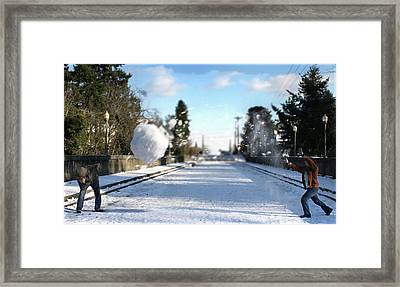 Snowball Fight Framed Print by Kyle Peirson