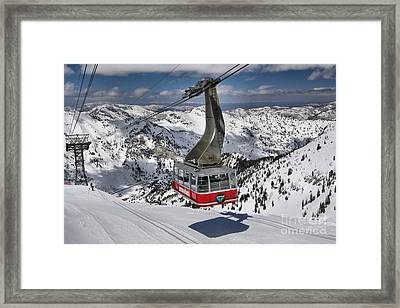 Snowbird Cable Car Framed Print by Adam Jewell