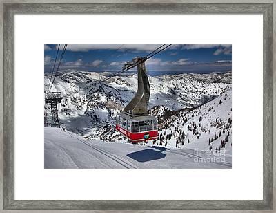 Snowbird Tram Approaching Hidden Peak Framed Print by Adam Jewell