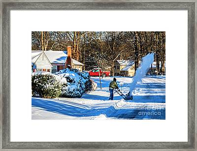 Snowblower In Richmond Blowing Snow 6397ct Framed Print by Doug Berry