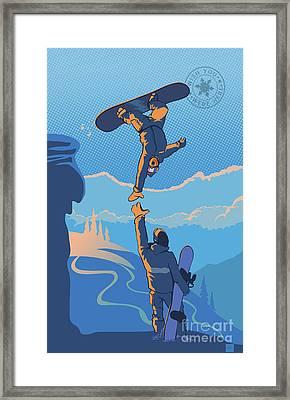 Snowboard High Five Framed Print