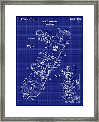 Snowboard Patent Blueprint Drawing Lt Framed Print by Jon Neidert