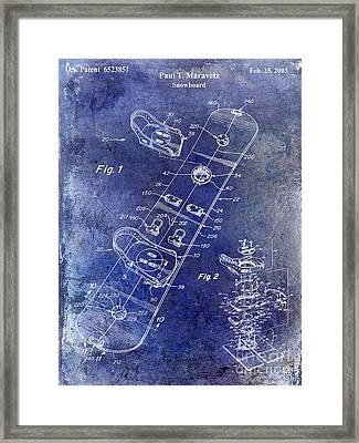 Snowboard Patent Drawing Blue Framed Print by Jon Neidert
