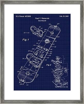 Snowboard Patent Blueprint Drawing Framed Print by Jon Neidert