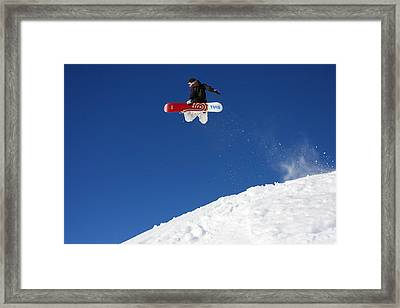 Snowboarder In Serre Chevalier France Framed Print by Pierre Leclerc Photography