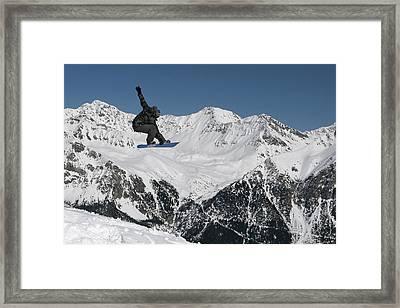 Snowboarder Indy Grab Switzerland Framed Print