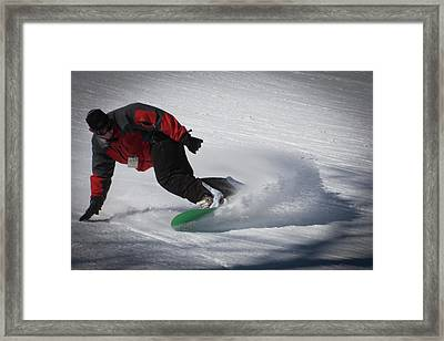 Framed Print featuring the photograph Snowboarder On Mccauley by David Patterson