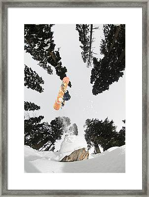 Snowboarding At Gulmarg Resort Framed Print by Christian Aslund