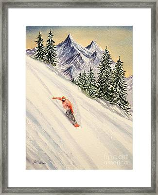 Framed Print featuring the painting Snowboarding Free And Easy by Bill Holkham