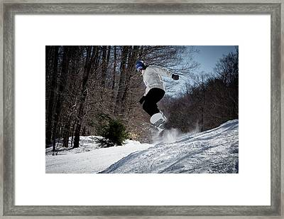 Framed Print featuring the photograph Snowboarding Mccauley Mountain by David Patterson