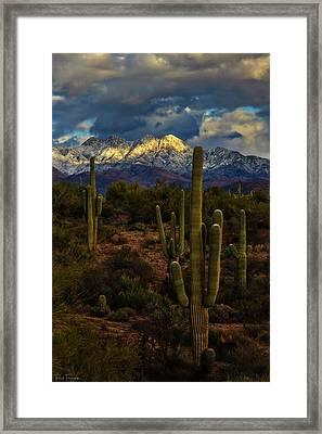 Snowcapped Four Peaks Framed Print by Rick Furmanek