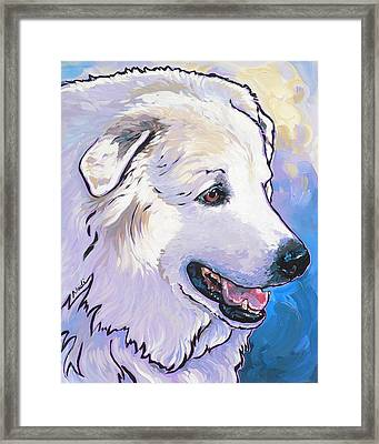 Framed Print featuring the painting Snowdoggie by Nadi Spencer